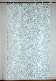 カーテン 間仕切り つっぱり 北欧 おしゃれ 透けるモザイク柄 幾何柄 パブロモザイク 仕切り アジアン バーンアウト オパール加工 白 ブルー ネイビー BL 青 紺 インド綿 コットン 長さ178cm 幅105cm