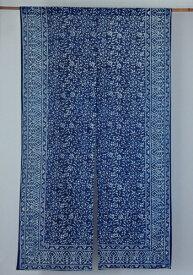 のれん 和柄 藍染め 藍染 インド綿 インディゴ 花唐草 ネイビー 紺 青 ブルー ノレン 暖簾 白 幅85cm 丈150cm