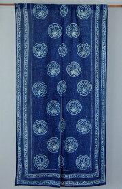 のれん 和柄 藍染め 藍染 インド綿 インディゴ 丸花 ロータスフラワー 蓮 ネイビー 紺 青 ブルー ノレン 暖簾 白 幅85cm 丈150cm