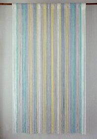 ストリングカーテン ひものれん ストリングのれん 紐のれん 北欧 ヒュッゲ 目隠し 安っぽくないお色厳選 マルチヤーン アイスブルー 水色 BL 丈150cm 幅85cm