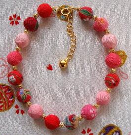 猫の首輪 和柄 ちりめん玉ネックレス 赤 ピンク (M)サイズ オリジナル 鈴 猫 首輪 ねこ ネコ アクセサリー かわいい おしゃれ