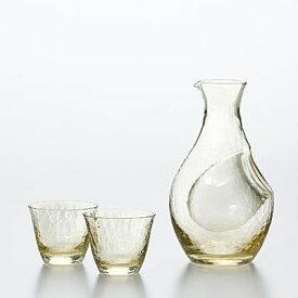 東洋佐々木ガラス 高瀬川 琥珀 冷酒セット G604-M72 氷ポケット付 カラフェ 盃セット