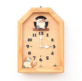 【New!!】 「キコリの時計」 木の振子時計 【三毛猫のカッコー時計】 新築祝 結婚祝 壁掛時計 置き時計