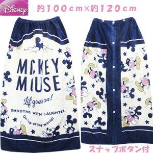 Disney ミッキー 女児 シャーリング スナップ付き 巻きタオル ラップタオル 綿100%  オフ×ネイビー 約100cm×約120cm ネイビー 学校、プール、プール開き、水泳、子供、子供服