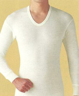 Men's long sleeve U neck t-shirt soft rolling wool 100% made in Japan