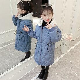 【予約品】女の子 冬 フード付き コート 中綿 ブラック ブルー 黒 暖か ロング ジャケット キッズ ジュニア 子供服【110-160】韓国子供服