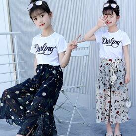 上下セット 子供服 女の子 半袖 ワイドパンツ Tシャツ 韓国風子供服 夏 花柄 ホワイト ネイビー オフホワイトガウチョパンツ 七分丈 120cm 130cm 140cm 150cm 160cm