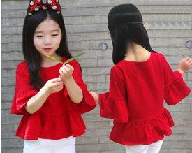Tシャツ 子供服 フリル袖 女の子 半袖 七分袖 五分丈トップス 夏 赤色シャツ 赤いシャツ キッズ服 レッド 90cm 100cm 110cm 120cm 130cm 140cm 150cm 160cm