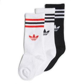 子供 アディダス adidas 靴下 クルーソックス 3足組 CREW SOCK 3P ホワイト/ホワイト/ブラック JKW03[C]【GFOL】