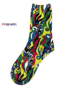 キッズ ソックス 派手 スーパーブーホームズ ブーフーウー サイケデリック転写 靴下 22-24cm 4074703 子供服 ジュニア 男の子 女の子 セール対象外 ノベ対象