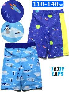 水着 男の子 スイムパンツ かっこいい 長め トランクス 学校 スクール セット 110 120 130 140cm ペンギン ライフ柄 Galaxy柄 宇宙 6893662・6893663 子供服 キッズ ザジーザップス ZAZZY ZAPS ギャラクシー