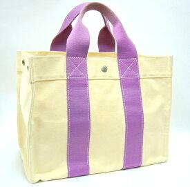 【HERMES】ボラボラPM ハンドバッグ キャンバス アイボリー×パープル トートバッグ【中古】【箕面店】@ mn0198