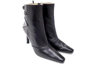 【★美品★】 《送料込》 CHARLES JOURDAN シャルル ジョルダン 『ショートブーツ』 《サイズ:6.1/2 23cm〜23.5cm 9.5cm/ブラック/パイソン/ピンヒール/スクエアトゥ/シューズ/靴/レディース 27256K0189 @【中古】