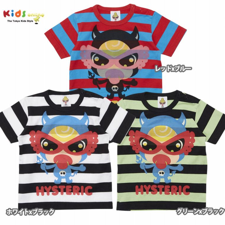 MY FIRST HYSTERIC マイファーストヒステリック PARTY MONSTER ボーダー柄 半袖BIGTシャツ