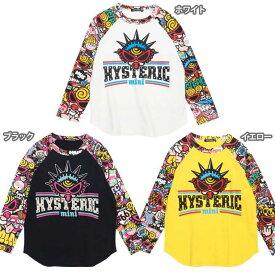 Hystericmini ヒステリックミニ HYS-MINI STICKER BOMB総柄ラグラン コーマ天竺長袖Tシャツ