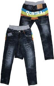 BOYS ストレッチデニムダメージ加工バナナバックプリントパンツ「処分品」「ズボン」「キッズ」「パンツ」「子供のズボン」「売れ筋ランキング」