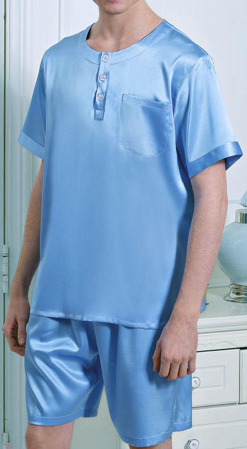 無地 ブルー 空色 半袖&半ズボン メンズ 19匁 シルク100%パジャマ 絹100% 紳士【送料無料】父の日 敬老の日 プレゼント ギフト【smtb-KD】【楽ギフ_包装選択】あす楽対応【RCP】