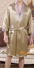 メンズシルク100%ガウン&パンツ ゴールド【無地】長袖 紳士 絹100%サテンローブ【送料無料】父の日 敬老の日 プレゼント ギフト【smtb-KD】【楽ギフ_包装選択】あす楽対応【RCP】