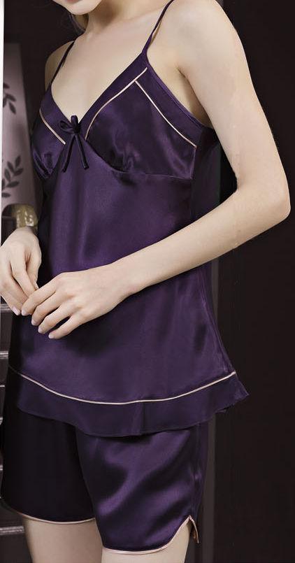 シルクキャミソール&パンツ 紫色 パープル【無地】絹100% 【送料無料】【楽ギフ_包装選択】あす楽対応【RCP】