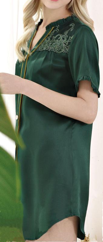 無地&刺繍 シルク100%ネグリジェ (グリーン 緑色)【送料無料】母の日 敬老の日 プレゼント ギフト【smtb-KD】【楽ギフ_包装選択】あす楽対応【RCP】