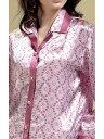 19匁シルク100%パジャマ 長袖 ピンク【オシャレ柄】 19匁絹100% レディース  サテンルームウェアll【送料無料】母…