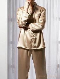 シルクパジャマ 長袖【雷文柄 金色 灰色】絹100% メンズ/紳士 ルームウェアーll【送料無料】父の日 敬老の日 プレゼント ギフト【smtb-KD】【楽ギフ_包装選択】あす楽対応【RCP】