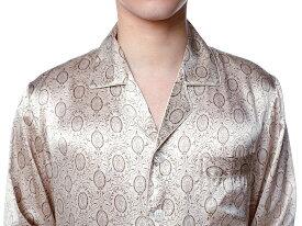 シルクパジャマ メンズ 長袖 シルク100% オシャレ ベージュ【送料無料】父の日 敬老の日 プレゼント ギフト【smtb-KD】あす楽対応【RCP】