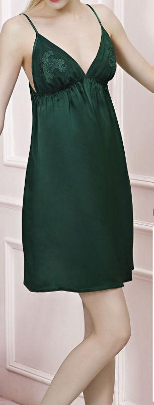 スリップ シルク100% (緑色 グリーン)【刺繍】【楽ギフ_包装選択】あす楽対応【RCP】