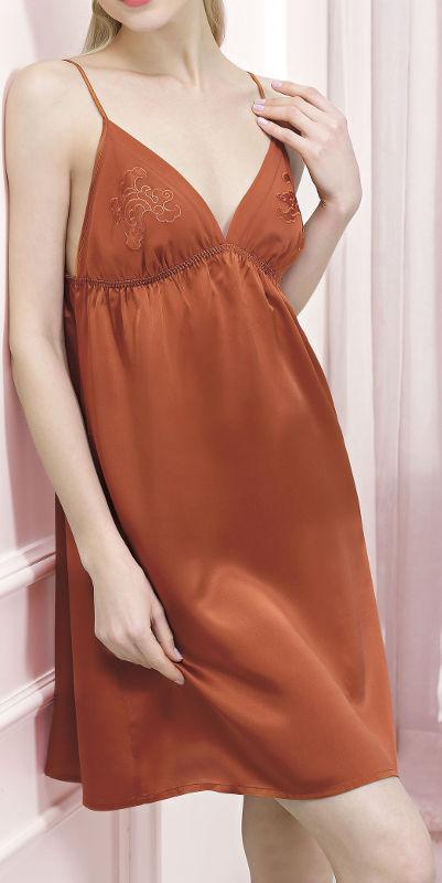 スリップ シルク100% (赤茶色)【刺繍】【楽ギフ_包装選択】あす楽対応【RCP】