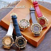 腕時計時計「文字盤スケルトン腕時計ニッケルフリーウォッチ」レディースファッションウォッチニッケルフリーギフトプレゼント