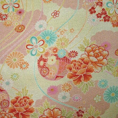 綿ちりめん(エンボス)和柄 生地 着物風彩華柄 ピンク【生地 布地 和柄 ちりめん】