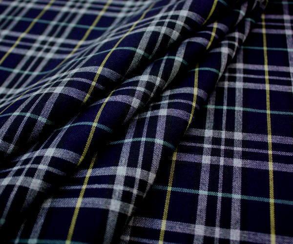 再入荷!ネイビー地にライトグレー&ライトイエロー・ライトグリーンのラインがキュートな日本製上質ウール混 平織り薄手生地♪W巾150cm 防縮加工 布 布地 服地 通販 ウール チェック ウール生地 チェック柄 50cm以上10cm単位