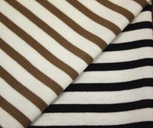 コットン 綿100% ポンチ・ニット先染めボーダー全2色 生地幅150cm 日本製。布 生地 布地 服地 ボーダーニット ニット生地 綿ボーダー ボーダー柄 コットン生地 通販 ジャージー