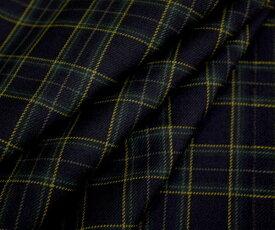 ダークネイビー地にイエローラインがアクセント ちょっと小さめタータンチェック 日本製先染めウール ポリエステル混ツイル(綾織り)生地 W巾150cm 防縮加工 布 布地 服地 通販 チェック ウール生地 チェック柄 タータンチェック柄
