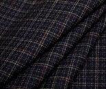 黒地にマルチカラードット・ドビー平織りウール/ポリエステル混生地♪W巾150cm日本製布布地服地通販ウール生地
