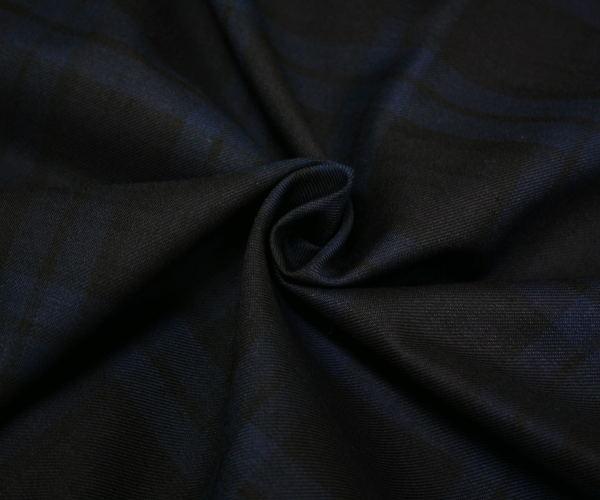日本製上質ウール ポリエステル混綾織り(ツイル)とってもダークなブラックウォッチ タータンチェック W巾150cm 防縮加工 布 生地 布地 服地 通販 チェック ウール生地 チェック柄
