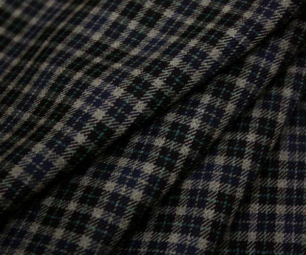 ネイビー&グレー&モスブルーのミニ・チェック 日本製上質先染めウール ポリエステル混ツイル(綾織り)生地 W巾150cm 防縮加工 布 布地 服地 通販 チェック ウール生地 10cm単位 チェック柄