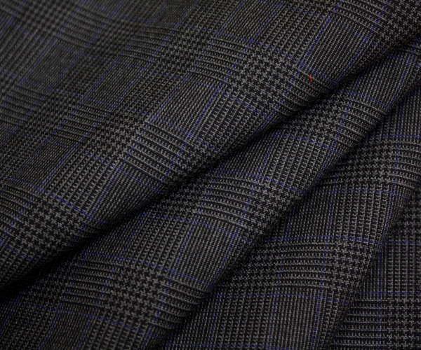 ウール/ポリエステル混先染めグレー&黒のグレンチェック・細い青ライン入り薄手の平織り生地♪日本製 W巾150cm 防縮加工 布 布地 服地 通販 チェック ウール生地 チェック柄