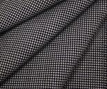 ダークネイビー&オフホワイトの小さい千鳥格子チェック日本製ウール/ポリエステル混平織り生地薄手のサマーウール