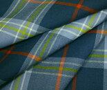 ブルーグリーンと水色にポップなカラーのライン入りタータンチェック・薄手のウール/ポリエステル混先染めサマーウール(平織り)生地