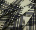 ホワイト&ブルーグレー系のタータンチェック・薄手のウール/ポリエステル混先染めサマーウール(平織り)生地♪W巾150cm