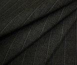 ウール/ポリエステル混先染めダークグレー地に白/黒のピンストライプ(縦縞)サマーウール(平織り)生地