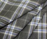 グレー&水色系のタータンチェック・薄手のウール/ポリエステル混先染めサマーウール(平織り)生地♪W巾150cm