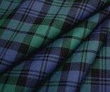 グリーン&ブルー系のタータンチェック・薄手のウール/ポリエステル混先染めサマーウール(平織り)生地