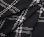 ダークネイビー地にオフホワイト&ピンクのライン・タータンチェック・薄手のウール/ポリエステル混先染めサマーウール(平織り)生地