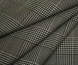 日本製ウール/ポリエステル混先染め白黒グレンチェックツイルスカート、パンツ、ジャケットに♪W巾150cm布生地布地服地通販チェックウール生地チェック柄