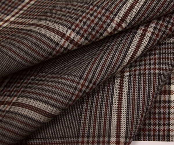 グレンチェック調チェック柄 生地 グレー地にエンジのラインがアクセント。ウール/ポリエステル混先染めサマーウール(平織り)生地 W巾150cm やや薄手 布 布地 服地 通販 チェック ウール生地 50cm以上10cm単位カット
