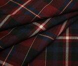 赤みがかったエンジ地に黒と紺のタータンチェック♪薄手のウール/ポリエステル混先染めサマーウール(平織り)生地