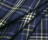 少し明るめアイアンブルー地タータンチェック・薄手のウール/ポリエステル混先染めサマーウール(平織り)生地