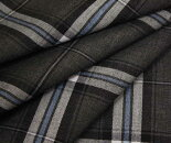 グレー地に水色ライン大きめピッチのタータンチェック・薄手のウール/ポリエステル混先染めサマーウール(平織り)生地